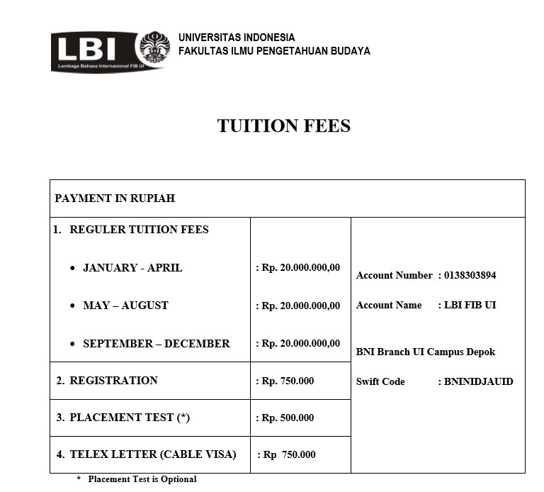 TUITION FEES 2017